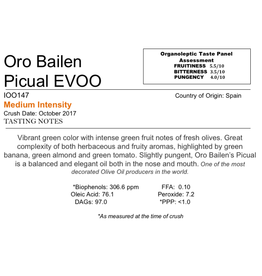 Northern Hemisphere Olive Oil Oro Bailen Picual-Spain