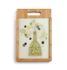 Olive You - Wood and Glass Cutting Board Set