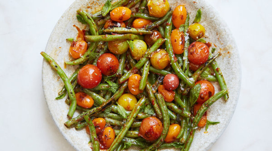 Blistered Green Beans and Tomatoes w/ Honey, Harissa and Mint