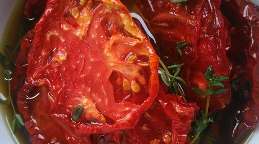 Oven Dried Heirloom Tomatoes with Fresh UP EVOO