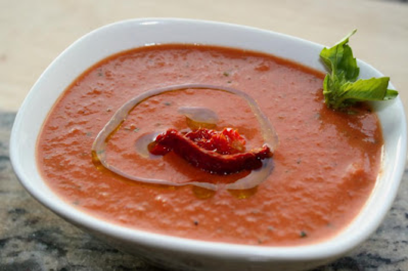 CREAM OF ROASTED PEPPER & TOMATO SOUP WITH TUSCAN HERB OLIVE OIL