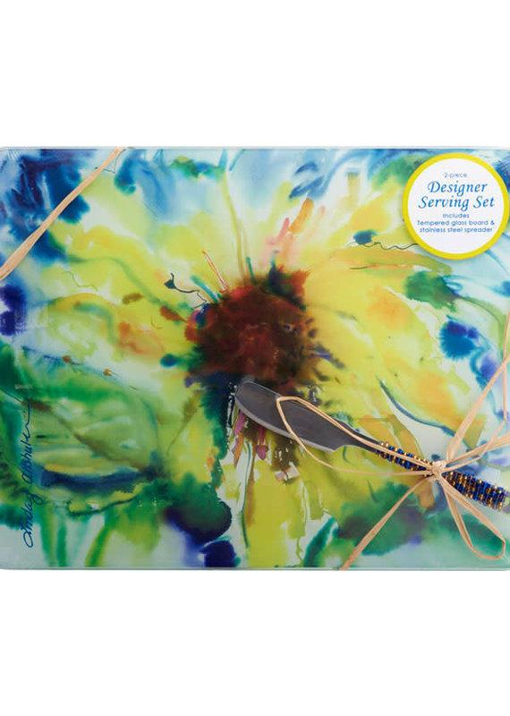 Entertaining Essentials Cheese Board w/Spreader Sunflower