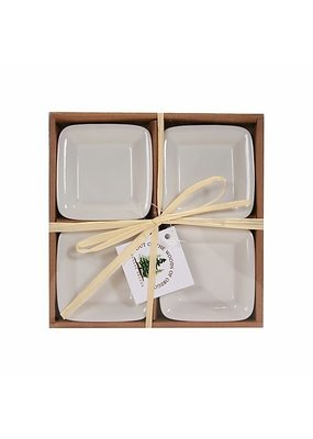 Set of 4 Dipping Dishes White Square
