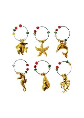 Wine Charms Golden Sea Life