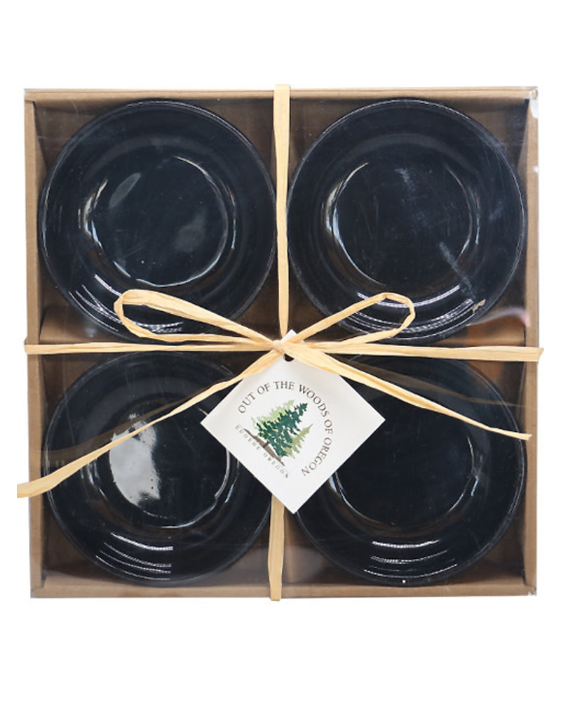 Set of 4 Dipping Dishes Black Round