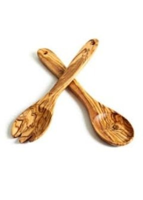 Natural Olive Wood Olive Wood Forked Spoon Only