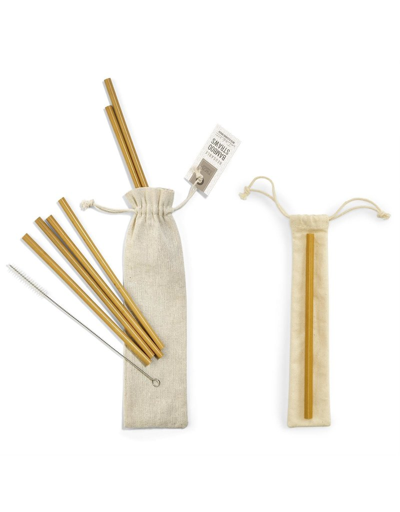 Two's Company Set of 6 Natural Bamboo Drinking Straws with Brush Cleaner and Single Pouch in Jute Storage Pouch