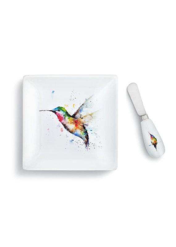 Plate w Spreader Hummer & Flower