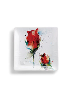 Snack Plate Red Rose