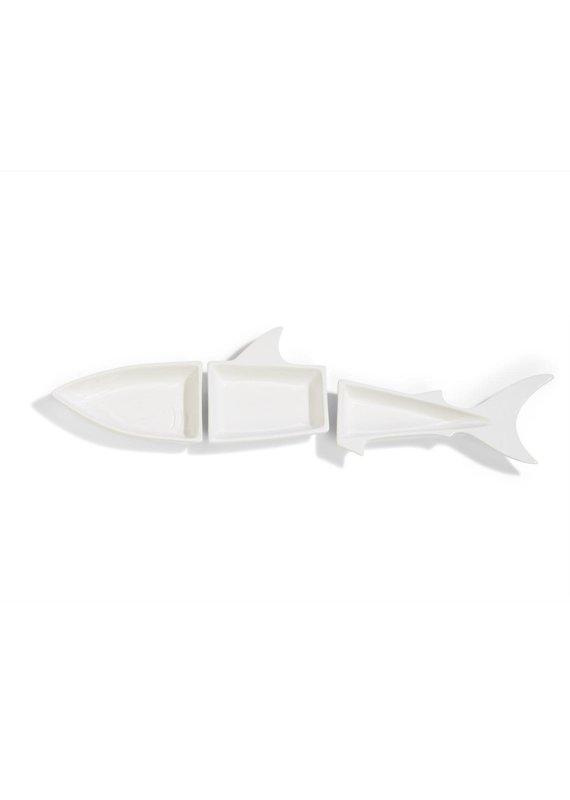 Two's Company Great White Set of 3 Shark Tidbit Plates