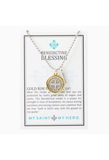 My Saint My Hero Benedictine Blessing Gold Rim Necklace