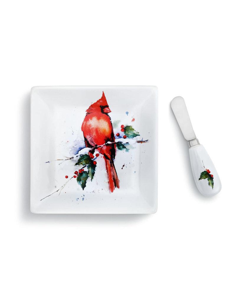 Plate w Spreader Holly Cardinal