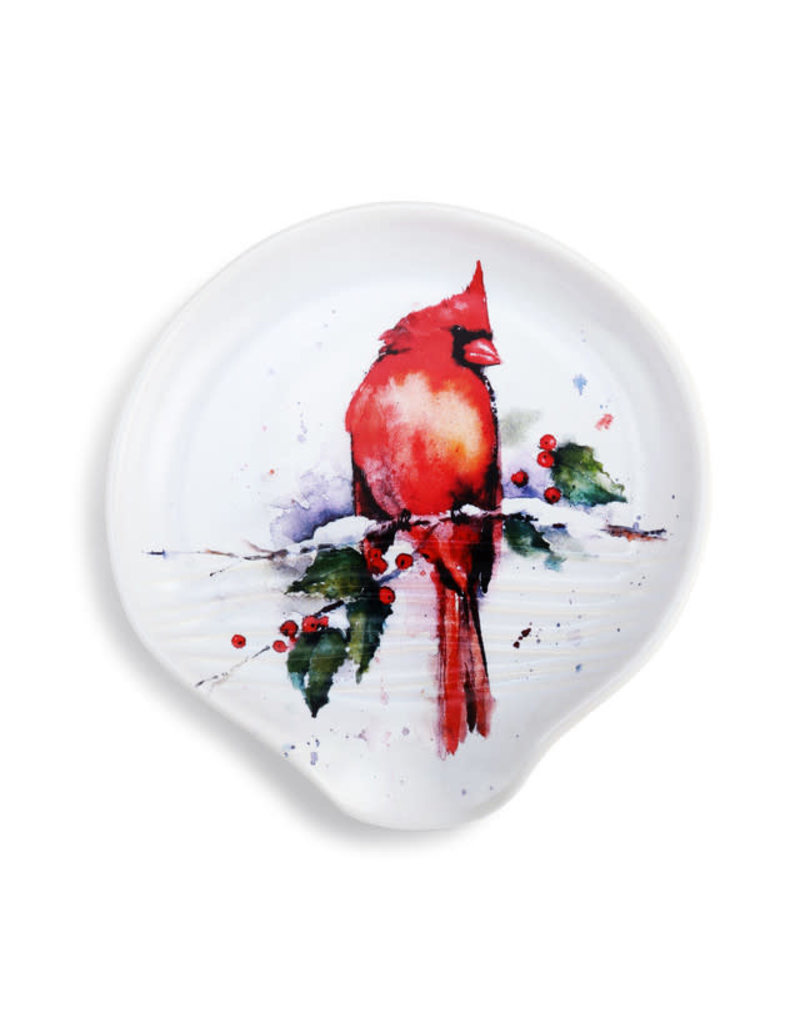 Cardinal and Holly Spoon Rest
