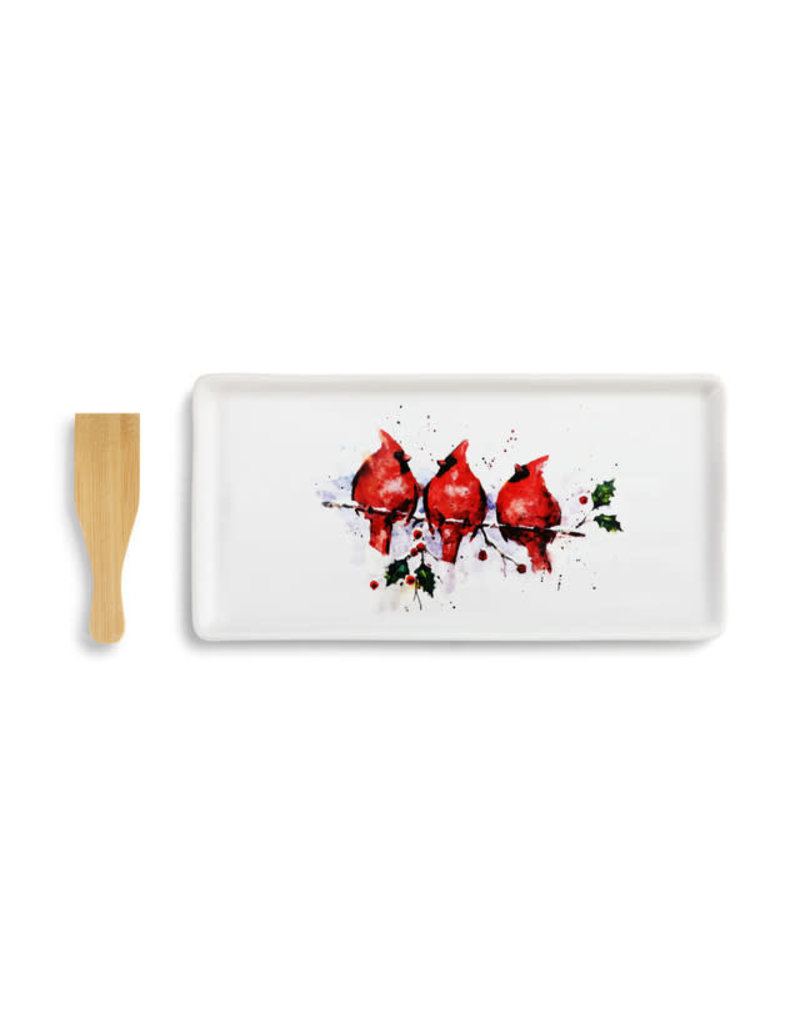 Three Round Cardinals Appetizer Tray w/ Spatula