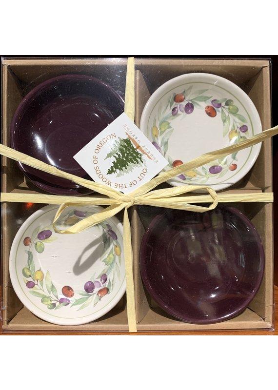 Set of 4 Round Bowls -Burgundy/Olive Wreath