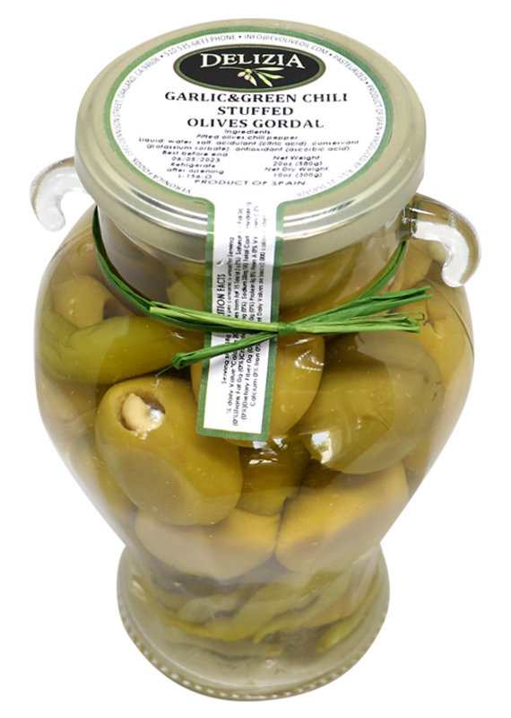 Olives Gordal Olive Stuffed with Garlic & Green Chili
