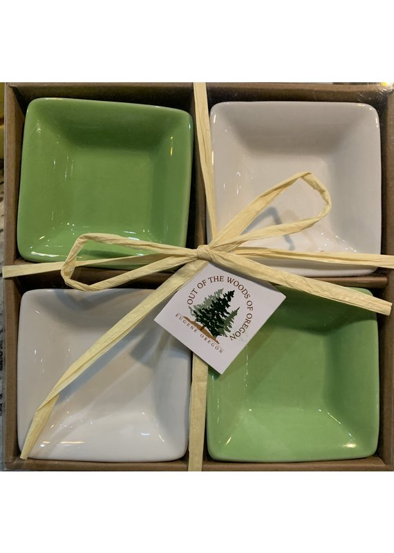Set of 4 Dipping Dishes Square Lt Green/White