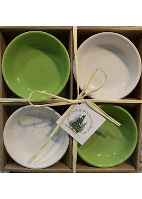 Set of 4 Dipping Dishes Round Lt Green/White