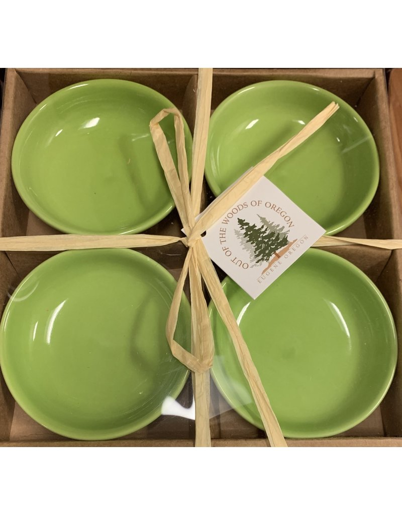 Set of 4 Dipping Dishes Round Lt Green