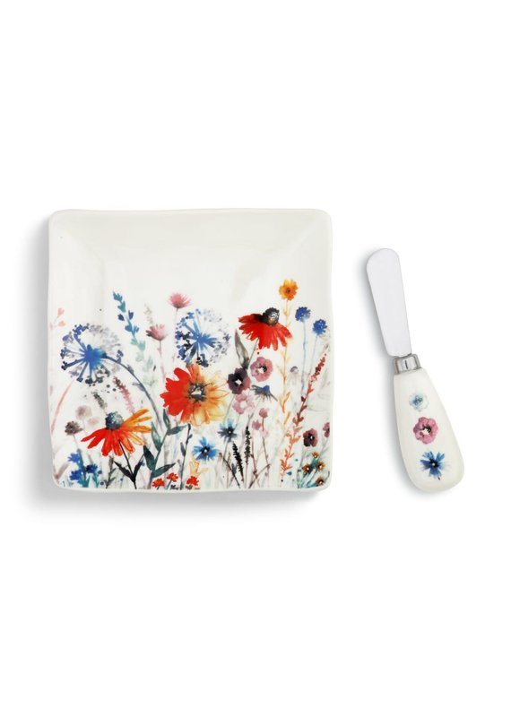 Plate w/ Spreader Set Meadow Flowers