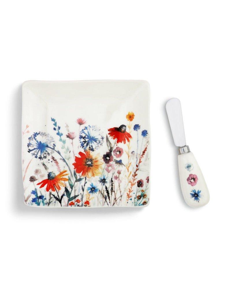 Plate w/ Spreader Set Meadow Flowers