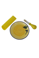 NaturallyMed Ceramic Garlic Grater Set Yellow Grape