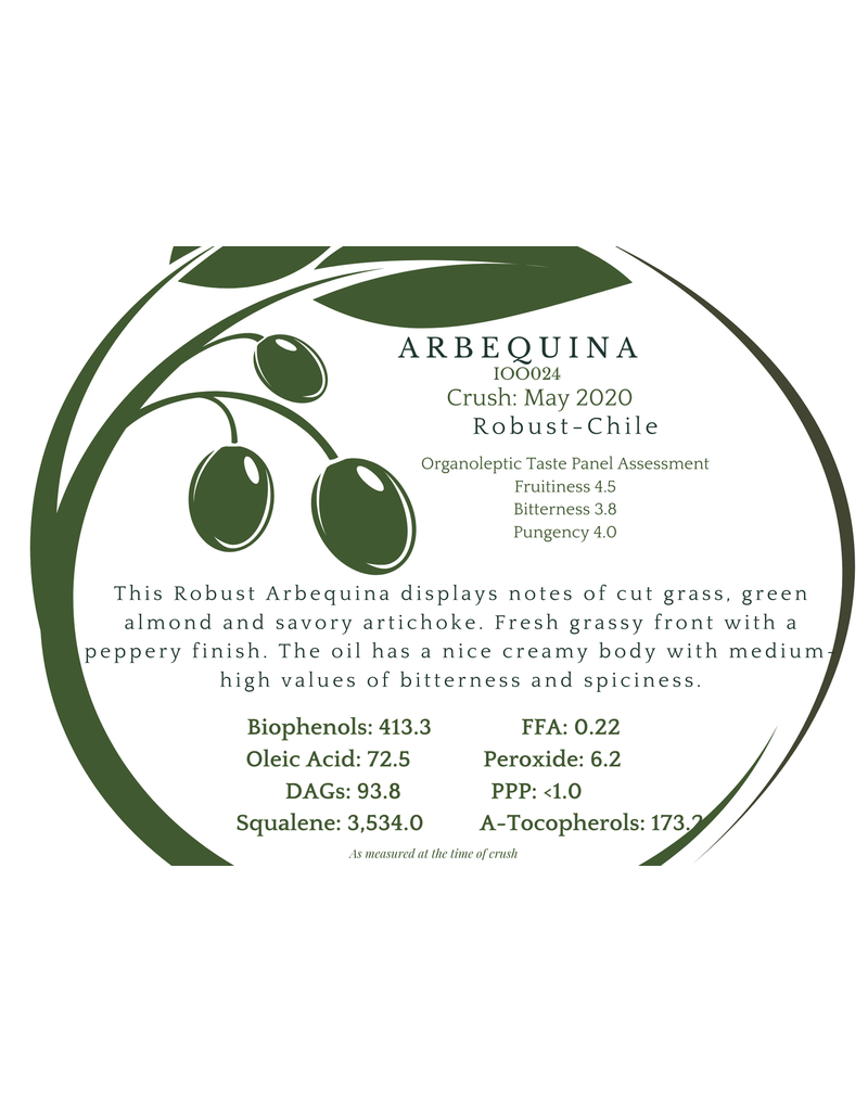 Southern Hemisphere Olive Oil Arbequina Chile IOO024
