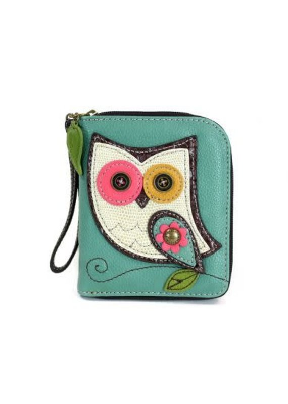 Chala Chala Zip-Around Wallet Owl Teal