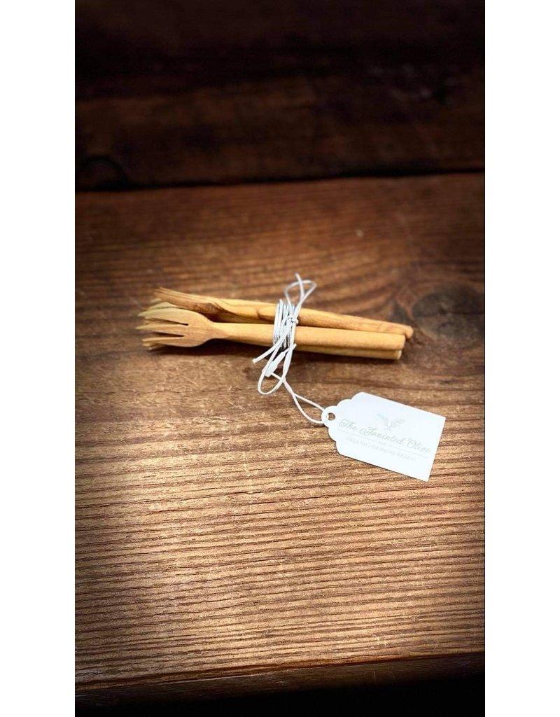 Natural Olive Wood Olive Wood Appetizer Forks Set of 4