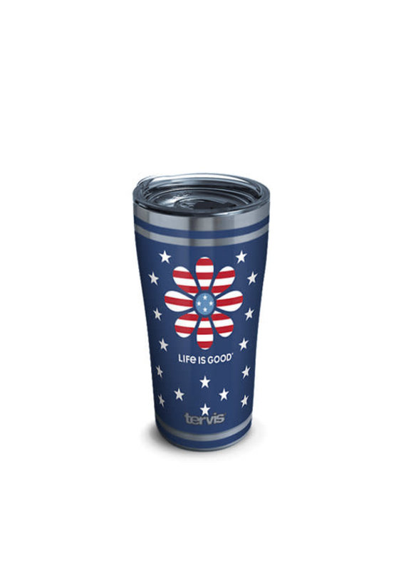 Tervis Tervis 20oz Stainless Steel w/ Hammer Lid Life is Good- Daisy Stars and Stripes