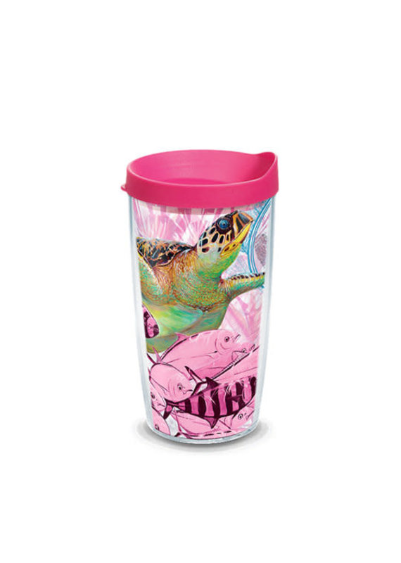 Tervis Tervis 16 oz Wrap w/Lid Guy Harvey- Breast Cancer Awareness Turtle