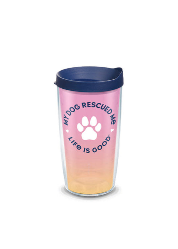 Tervis Tervis 16 oz Wrap w/Lid Life Is Good- Dog Rescued Me