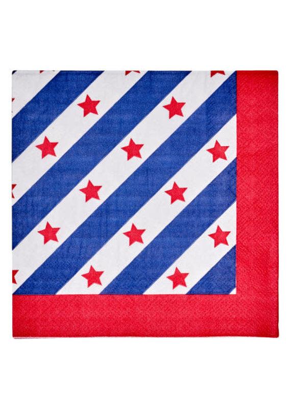 Sophisti Plate Cocktail Napkin Red Patriotic/16ct