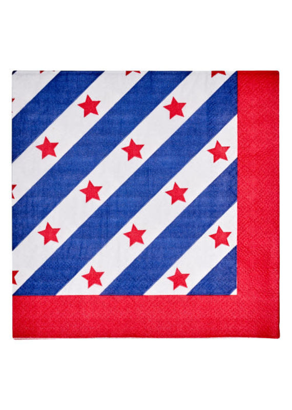 Sophisti Plate Lunch Napkin Red Patriotic/16ct