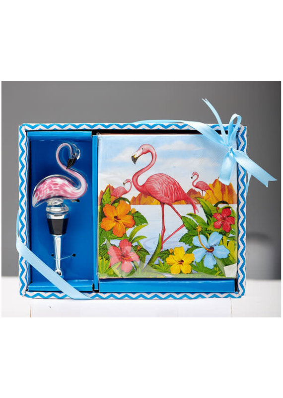 Entertaining Essentials Napkin & Stopper Set Flamingo