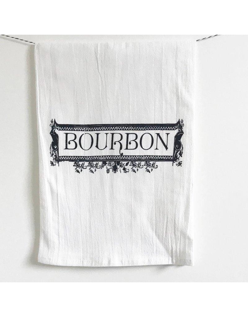 Coin Laundry Bourbon Label Kitchen Bar Towel
