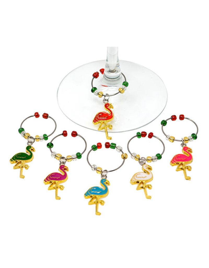 Wine Charms Flamingos