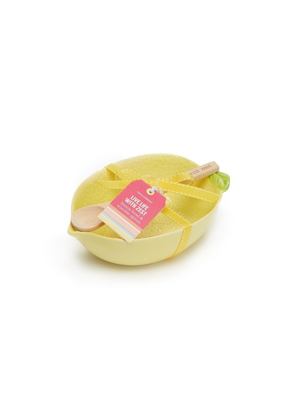 """Two's Company Lemon Bowl with """"Live Life with Zest"""" Wooden Spoon Set"""