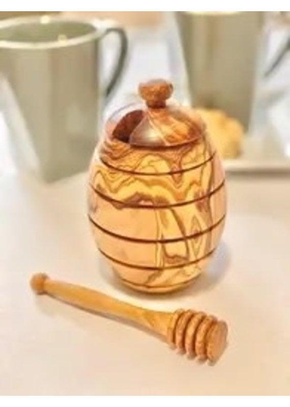 Natural Olive Wood Olive Wood Honey Jar
