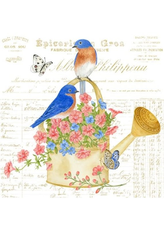 Alice Cottage Single Flour Sack Towel Watering Can w Birds
