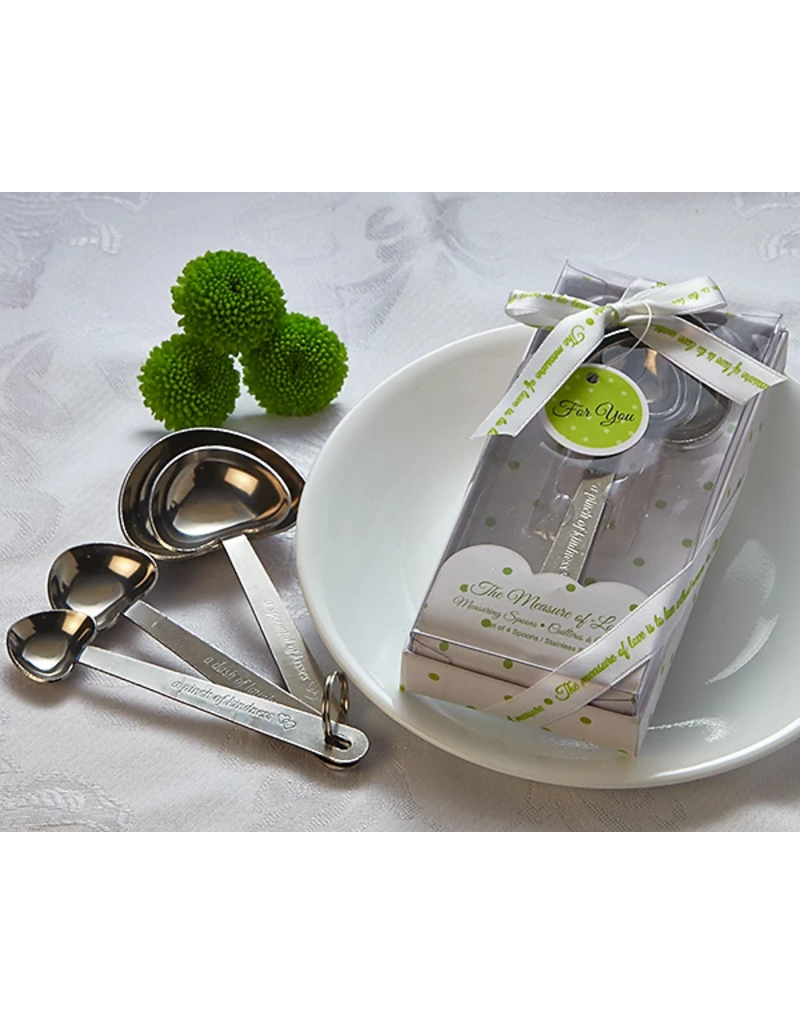 Artisano Designs The Measure of Love Heart Measuring Spoon Set Favor (White Package)