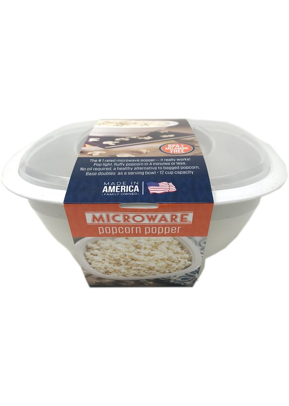 Amish Country Microwave Popcorn Bowl- White