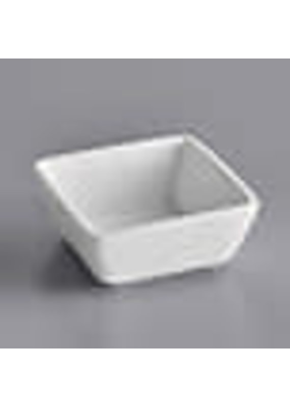 Square Bright White Porcelain Sauce Cup