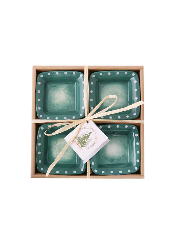Sml Square Bowl-Teal w Dots