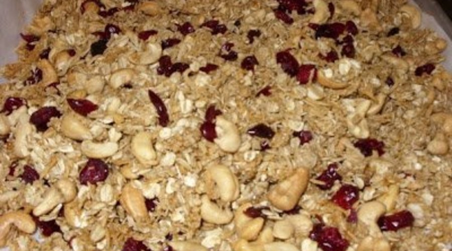 Cranberry, Coconut, Cashew Granola with Persian Lime Extra Virgin Olive Oil And Coconut White Balsamic Condimento Reduction