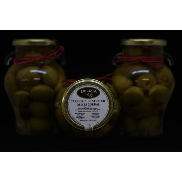 Delizia Gordal Olive Stuffed with Garlic & Red Chili