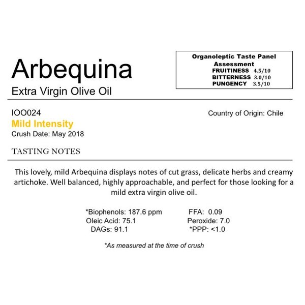 The Anointed Olive Southern Hemisphere Olive Oil Arbequina-Chile