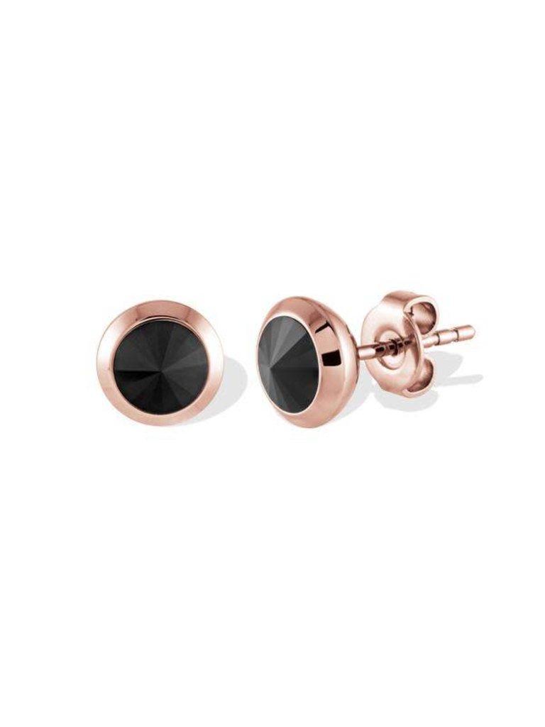 15af66c54 ... Stone Stud Earrings. Italgem Steel Stainless Rose Gold Ion Plated Black  Swarovski