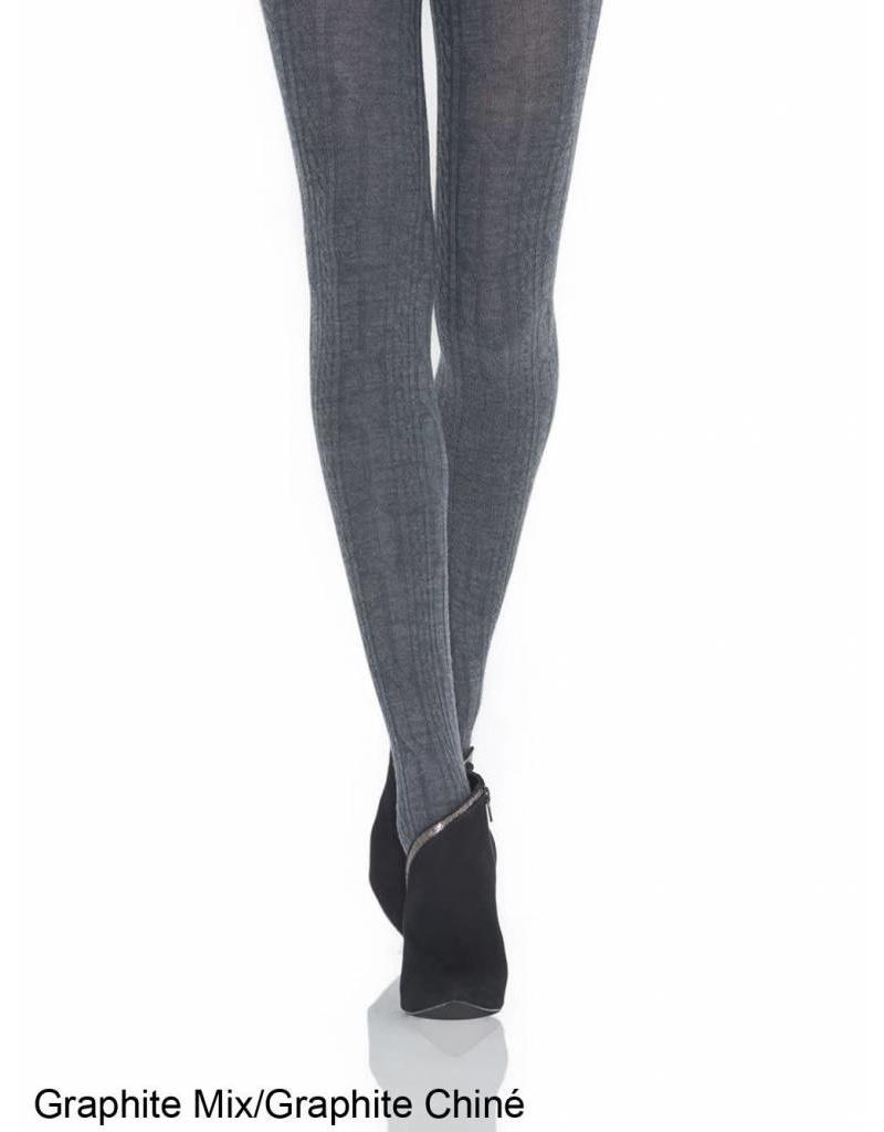 MONDOR MONDOR WOMEN'S MERINO WOOL TIGHTS CABLE PATTERN 5384