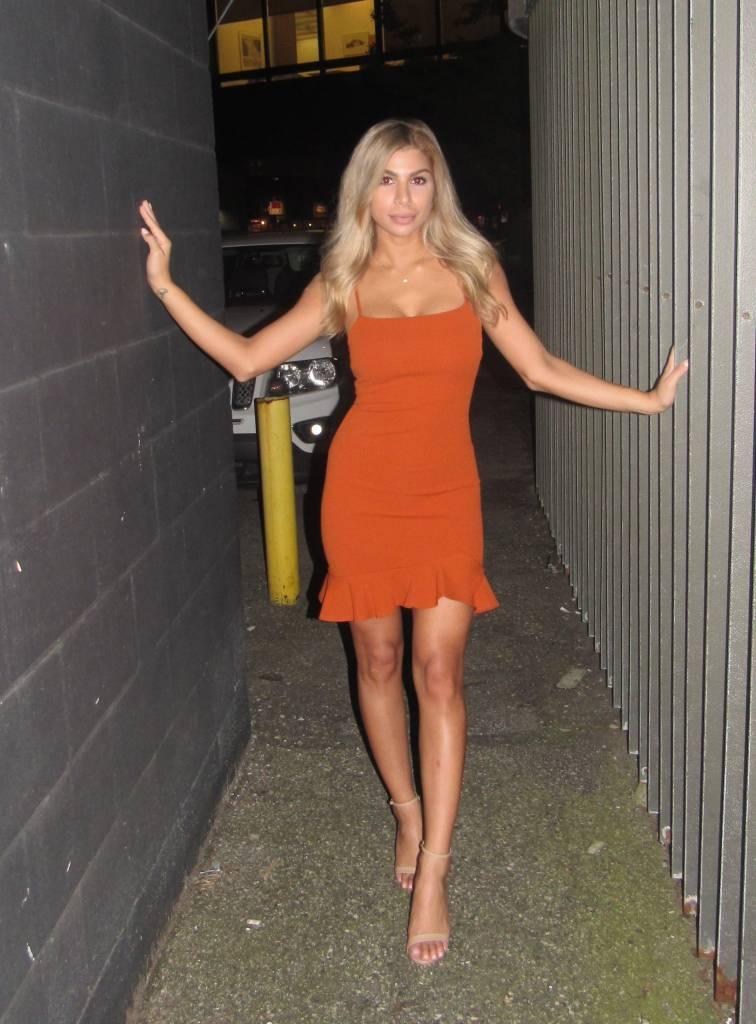 LEXI DREW Strap Ruffle Dress
